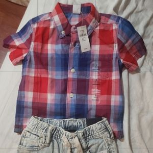 Baby Gap Boys Button Down Shirt with Shorts